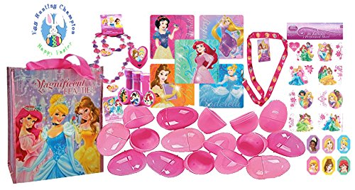 UPD Disney Princess Girls Pink Toy-Filled Easter Eggs & Matching Magnificent Beauties Egg Hunt Loot Bag! Plus Bonus Egg Hunting Champion Sticker! ()