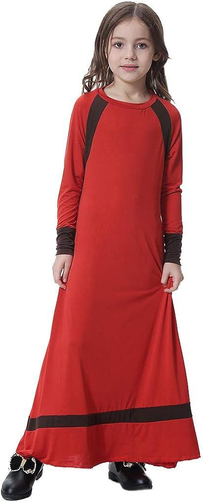 Tinani Middle Eastern Long Sleeve Saudi Arab Islamic Muslim Dubai Robe for Girl