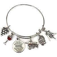 Kits Kiss Wine bracelet, Wine jewelry, gift for wine lover, wine charm bracelet, Grape, Red Wine glass, Wine Opener, Wine Barrel, Wine Bottle, Wine gift, Wine bangle bracelet