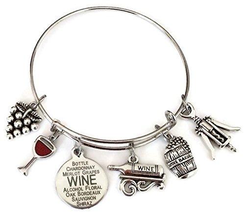 Price comparison product image Kit's Kiss Wine Bracelet, Wine Jewelry, Gift for Wine Lover, Wine Charm Bracelet, Grape, Red Wine Glass, Wine Opener, Wine Barrel, Wine Bottle, Wine Gift, Wine Bangle Bracelet