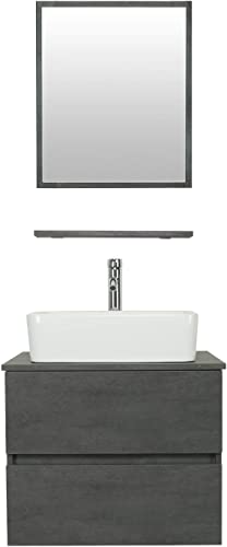 eclife 24 Bathroom Vanity Sink Combo Wall Mounted Concrete Grey Cabinet Two Drawers Vanity Set White Ceramic Vessel Sink Top