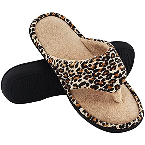 6572f702d9fd HomeTop Women s Leopard Memory Foam Spa Thong Flip Flops Indoor House  Slippers new