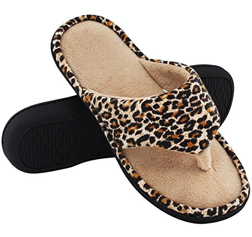 90dfa38f59b7 HomeTop Womens Leopard Memory Slippers product image