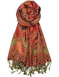 Soft Silky Multi Color Paisley Pashmina Double Layered Shawl Wrap Scarf for Women