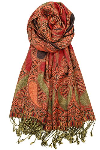 - Achillea Soft Silky Multi Color Paisley Pashmina Double Layered Shawl Scarf Wrap Stole (Burgundy Orange)
