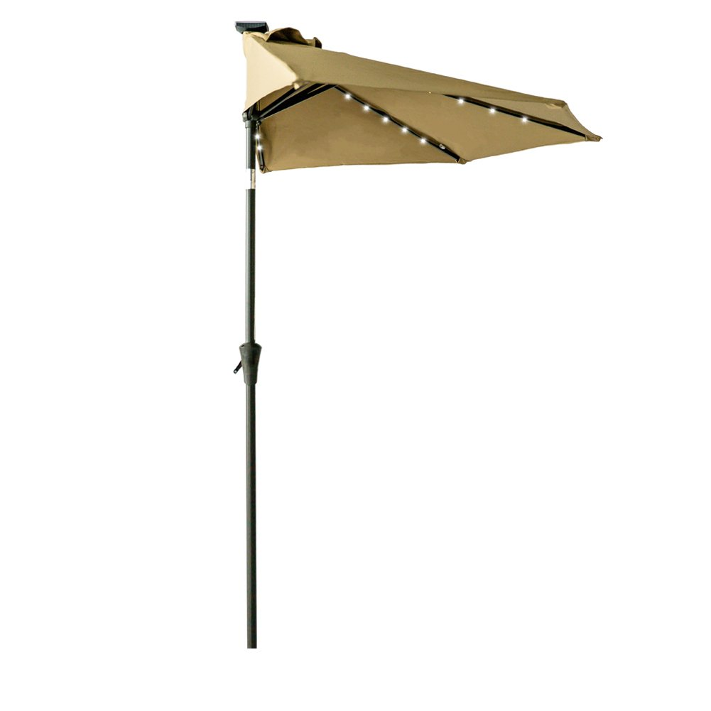 FLAME&SHADE 9ft Solar Power LED Half Round Outdoor Market Umbrella with Crank Lift, Push Button Tilt, Beige by FLAME&SHADE (Image #1)