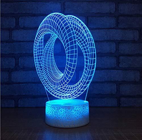 Creative Table Lamp Desk Lamp 3D Acrylic Night Light Acryllicht-Nachtlicht-Kreative Tischplattenanzeige Des Ringes 3D Führte Kinderlampen-Bunte Dekorative Leuchten 3D Using for Reading, Working by OVIIVO (Image #4)