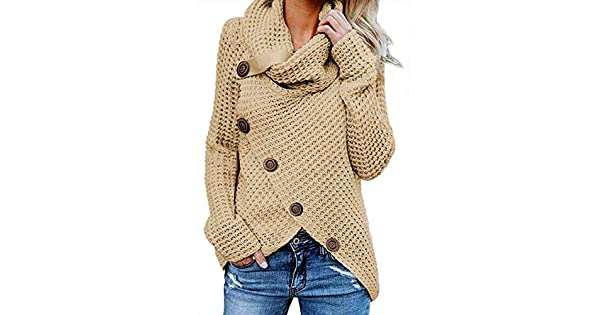 68381c72c8 Asvivid Women s Chunky Turtle Cowl Neck Asymmetric Hem Wrap Sweater Coat  with Button Details