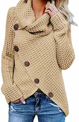 Asvivid Women's Chunky Turtle Cowl Neck Asymmetric Hem Wrap Sweater Coat with Button Details