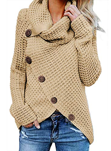 - Asvivid Womens Turtle Cowl Neck Asymmetric Wrap Lightweight Ladies Pullover Sweaters with Button Details S Beige