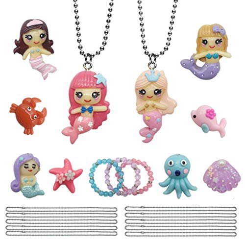 Little Mermaid Pool Party Favor Necklaces Bracelet - Ariel Cosplay Costume Jewelry Set Ocean Collection Gifts for Girls Kids for $<!--$14.99-->