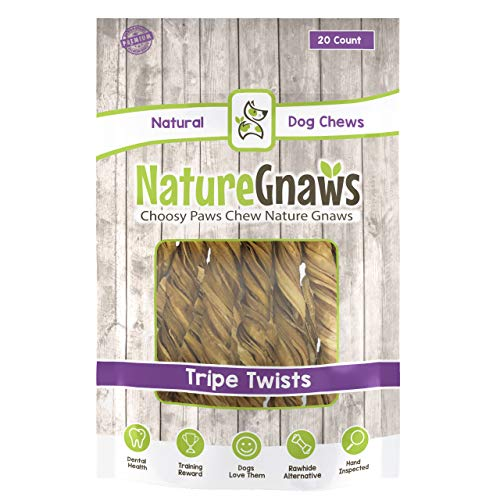 Nature Gnaws Tripe Twists for Dogs – Premium Natural Beef Sticks – Simple Single Ingredient Crunchy Dog Chew Treats…