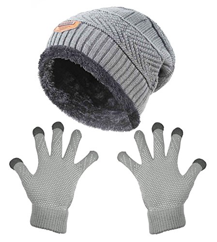 HindaWi Winter Slouchy Beanie Gloves For Women Knit Warm Hats Skull Caps Touch Screen Mittens Grey -