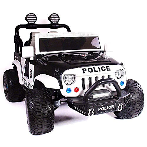 - 12 Volt Explorer Truck Battery Powered Led Wheels 2 Seater Children Ride On Toy Car for Kids Leather Seat MP3 Music Player with FM Radio Bluetooth R/C Parental Remote (Police)