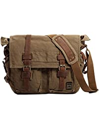 Vintage Military Men Canvas Messenger Bag for 17.3Inch Laptop