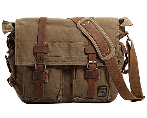 (Berchirly Vintage Military Men Canvas Messenger Bag 17.3Inch Laptop)