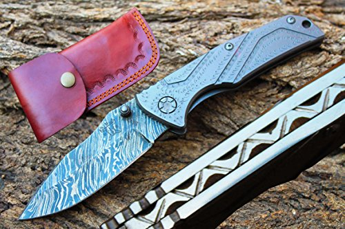 "3.3""Damascus Blade Folding Knife w/Easy Liner Lock, Custom F"