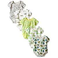 Rosie Pope Baby 5-Pack Desert Adventure Bodysuits, Irish Green, 0-3 Months