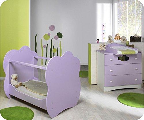 Mini Babyzimmer Altea weiß lila mit Wickelfläche