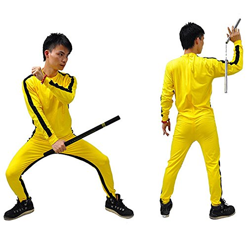 Lee Costume The Dragon Bruce Enter (ZooBoo Yellow Martial Arts Jumpsuit - Halloween Fighting Movie Film Costume Outfit Romper Tracksuit Suit Sportswear for Men and Women - Yellow   (Yellow,)