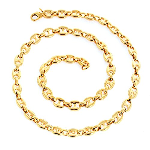 Followmoon 18K Gold Plated Necklace Link Chain Men's Jewelry Heavy 24