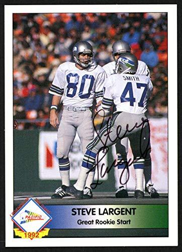(Steve Largent Autographed 1992 Pacifc Autograph Card Seattle Seahawks #207/1000 SKU #147785 - NFL Autographed Football Cards)