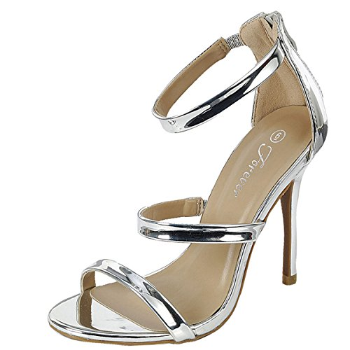 Forever Womens Open Toe Elastic Ankle Strap Stiletto High Heel Back Zipper Mary Jane Pump Sandals 8.5 Silver