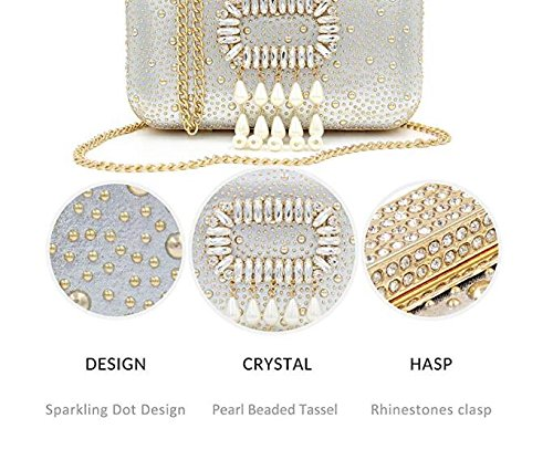 Party Silver Evening Handbags Women Leather Clutches Purses NBWE Pearl Clutch Banquet Wedding Crystal qwB7y0t