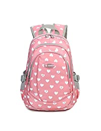 Heart Shaped Backpack for Junior Grade or Preschool Kindergarten School Girls (Pink)