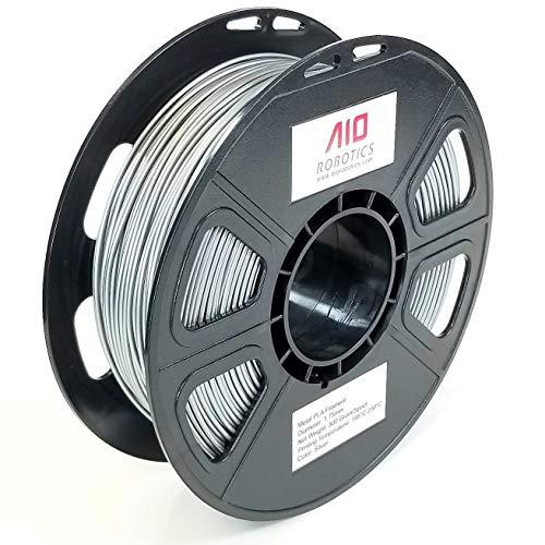 AIO Robotics AIOMETALSILVER PLA 3D Printer Filament, 0.5 kg Spool, Dimensional Accuracy +/- 0.02 mm, 1.75 mm, Metal Silver