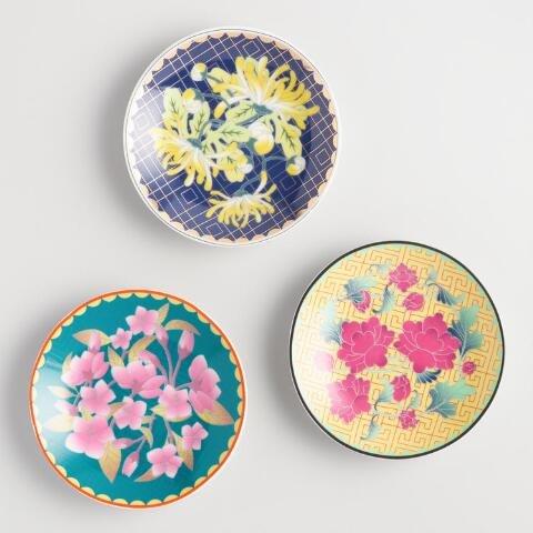 Floral Porcelain Tea Bag Rests - Set of 3 by World Market