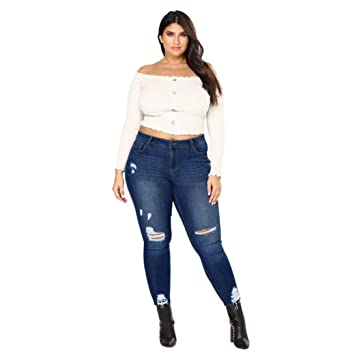 60b81135fa8 Image Unavailable. Image not available for. Color  ManxiVoo Women Plus Size  Distressed Stretch Fit Skinny Jeans Casual Slim Destroyed Ripped ...