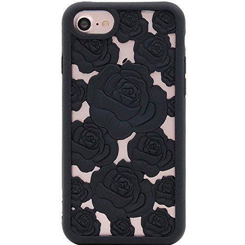 (MC Fashion iPhone 6s Case, iPhone 7 Case, iPhone 8 Case, Cute Hollow Design Carved Rose Flower Soft and Protective Slim Silicone Case for Apple iPhone 6/ 6s/ 7/8 4.7-Inch (Black))