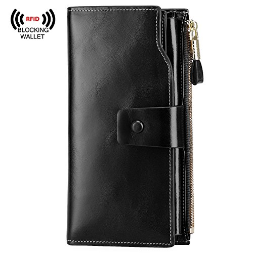 S-ZONE Women's RFID Blocking Large Capacity Genuine Leather Clutch Wallet Card Holder Organizer (Black) Black Leather Clutch Wallet