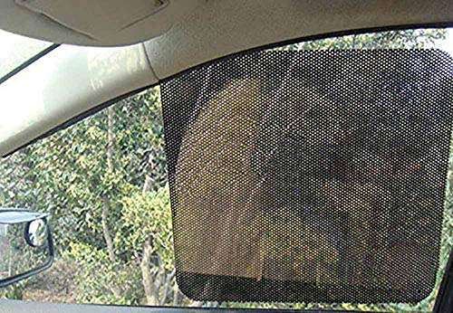 Car Sunshade Sticker, Rainbowrose Reusable Perforated Static Cling Vehicle Screen Windshield Film for Baby Kids UV Protection(Pack of 2) (28X20