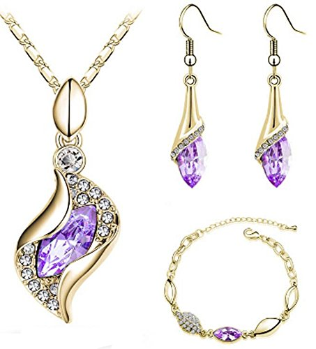 (AmaranTeen - 18K Gold Plated Austrian Crystal 7 colors Jewelry Sets)