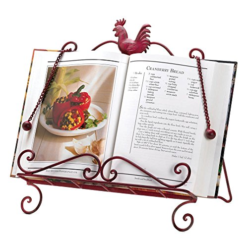 Koehler Home Kitchen Decorative Gift Red Metal Framework Rooster Cookbook Stand