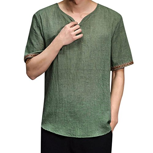 Heritage Long Sleeve Thermal Tops - vermers Clearance Sale Mens Casual T Shirts Traditional Linen Short Sleeve V Neck Tops Loose Blouse(M, Green)