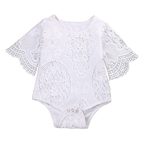 Infant Baby Girl White Lace Ruffles Sleeve Romper Sunsuit Bodysuit (80cm/6-12 Months)
