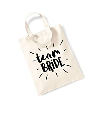 56d8a566f03b Team Bride - Burst - Small Canvas Fun Slogan Tote Bag (Natural Black ...