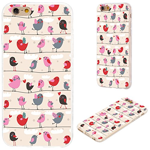 6 Graphic Designs - iPhone 6s Case,iPhone 6 Case,VoMotec [Original Series] Shockproof Anti-Scratch Slim Flexible Soft TPU Protective Skin Cover Case iPhone 6 6s 4.7 inch,Cute red Pink Cartoon Birds