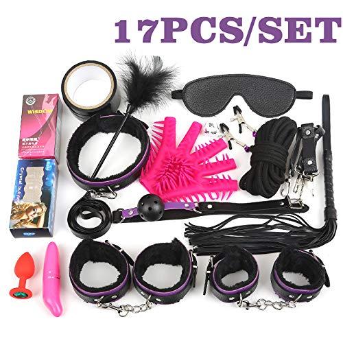 17Pcs /Set BDSM Bondage Set Plush Leather Fetish Sex Bondage Nipple Clamps Ball Gag Eyes Mask Sm Handcuffs Erotic Toy 17Pcs