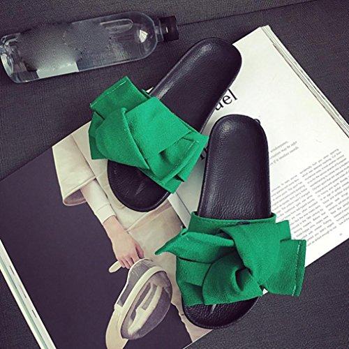 BZLine® Frauen Bogen Keil Sandalen Strand Schuhe Flip Flops Plattform Hausschuhe Grün