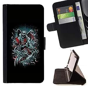Momo Phone Case / Flip Funda de Cuero Case Cover - Ángel de la Muerte Negro Biblia Corazón Alas - Sony Xperia Z3 D6603