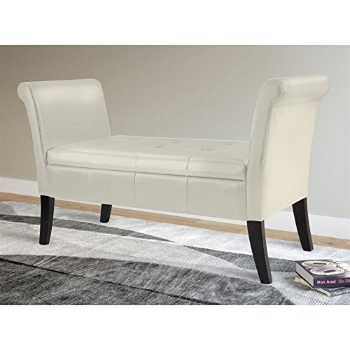 Cream Bonded Leather Ottoman (CorLiving LAD-500-O Antonio Storage Bench with Scrolled Arms in Bonded Leather, Cream)