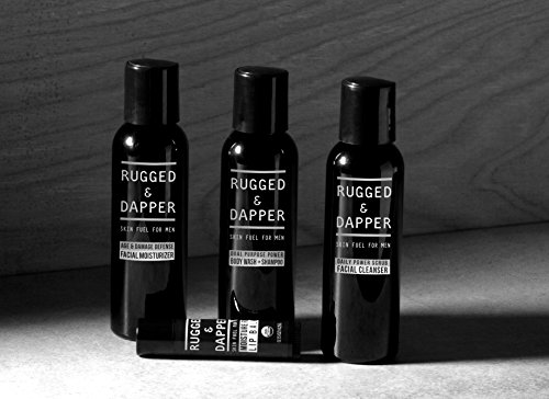 RUGGED & DAPPER Core Regimen Travel Kit - Includes Facial Moisturizer - Daily Facial Cleanser - Body Wash & Shampoo - Organic Lip Balm - with Natural & Organic Ingredients by RUGGED & DAPPER (Image #1)