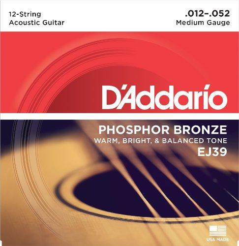 (D'Addario EJ39 12-String Phosphor Bronze Acoustic Guitar Strings, Medium, 12-52)