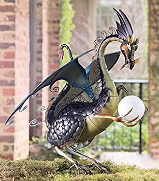Amazoncom Dragon Garden Sculpture With Solar Globe Patio