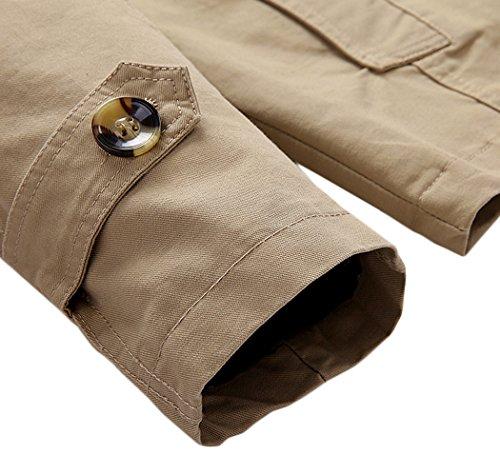 Sawadikaa Men's Single-Breasted Cotton Lightweight Jacket Windbreaker Wind Trench Coat Outdoor Jacket Light Khaki Medium by Sawadikaa (Image #6)