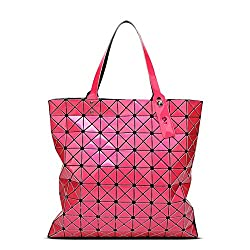 Top-Handle PVC Plaid Geometry Hand Bag